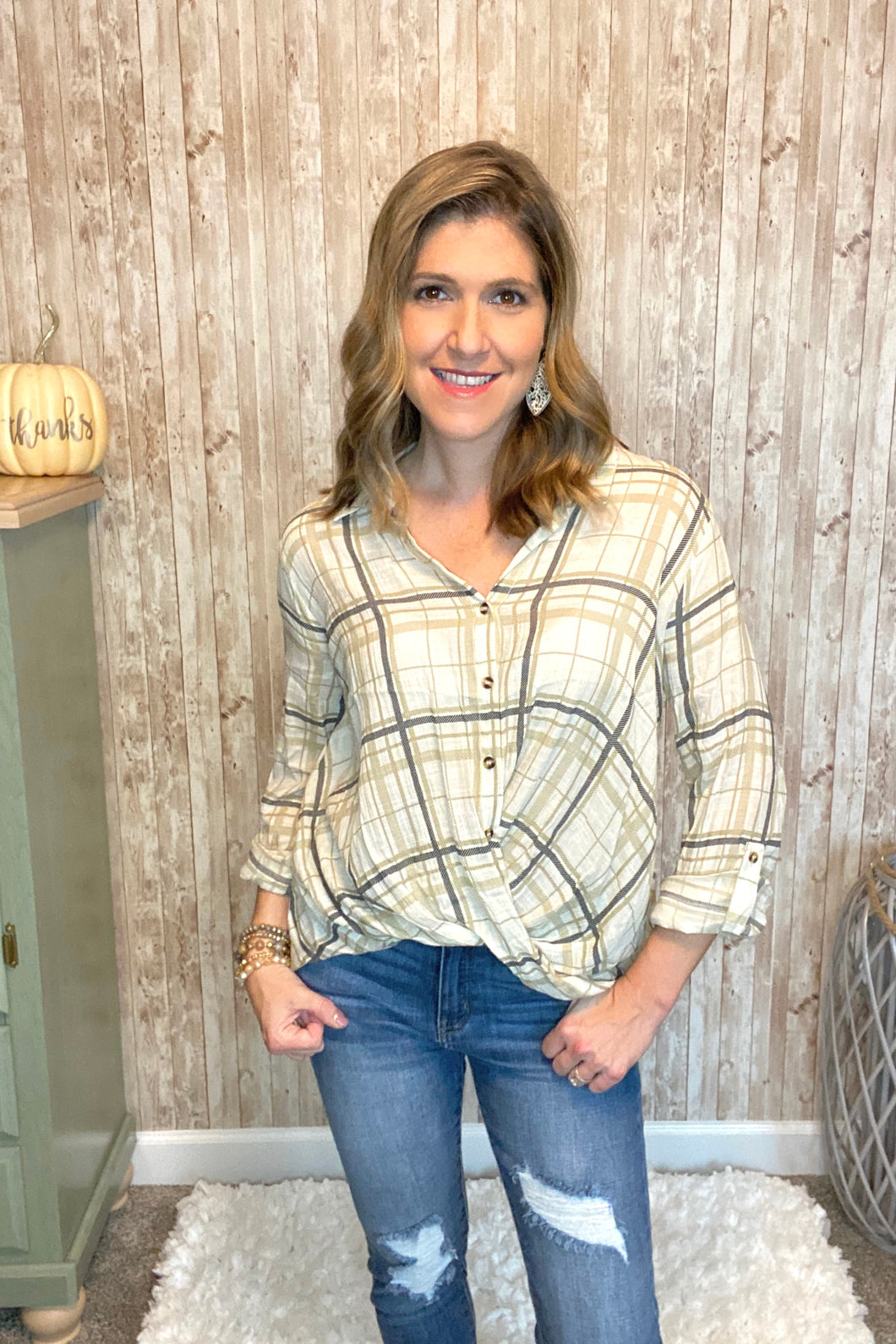 Twist Front Plaid Woven Top