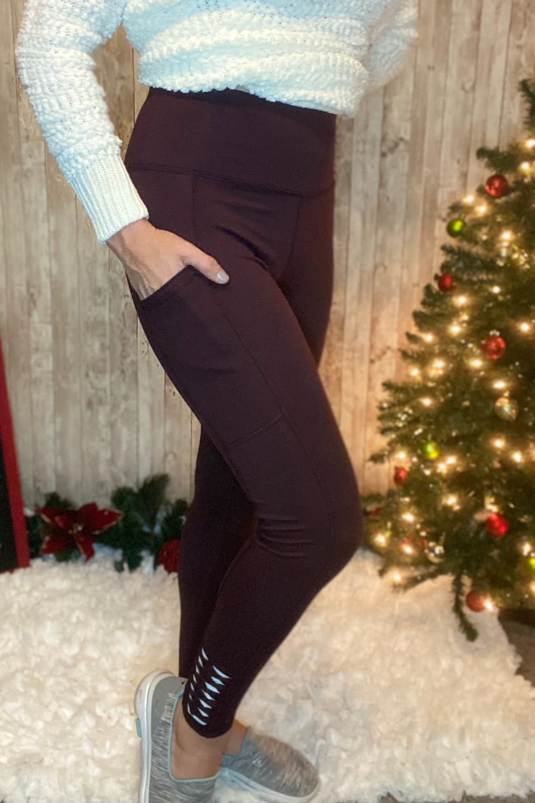 Plum Perfection High Waisted Leggings With Pockets