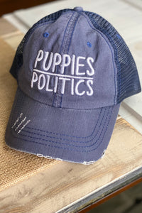 Puppies Over Politics Distressed Hat