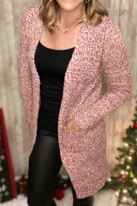 Red And White Boucle' Cardigan With Pockets