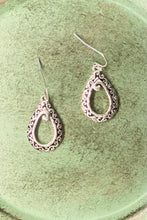 Load image into Gallery viewer, Silver Scroll Teardrop Earrings