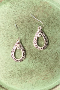 Silver Scroll Teardrop Earrings