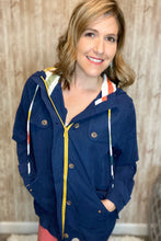 Load image into Gallery viewer, Navy Multi Stripe Lightweight Utility Jacket