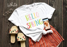 "Load image into Gallery viewer, ""Hello Spring"" Rainbow Tee"