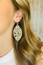 Load image into Gallery viewer, Laser Cut Leather Drop Earrings