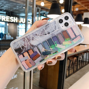 Fashion Woman Eye Shadow Make Up Case For iPhone 11 Pro X XS Max XR 7 8 6 Plus Makeup Liquid Quicksand Phone Cover Girls Coque
