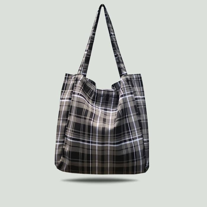 Totebag Tote Bag Tas Jinjing Kanvas TARTAN Brown