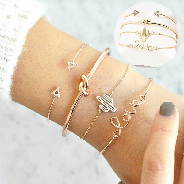 4Pcs/Set Women Girl Gold Triangle Knot Love Cactus Opening Bangle Chain Bracelet