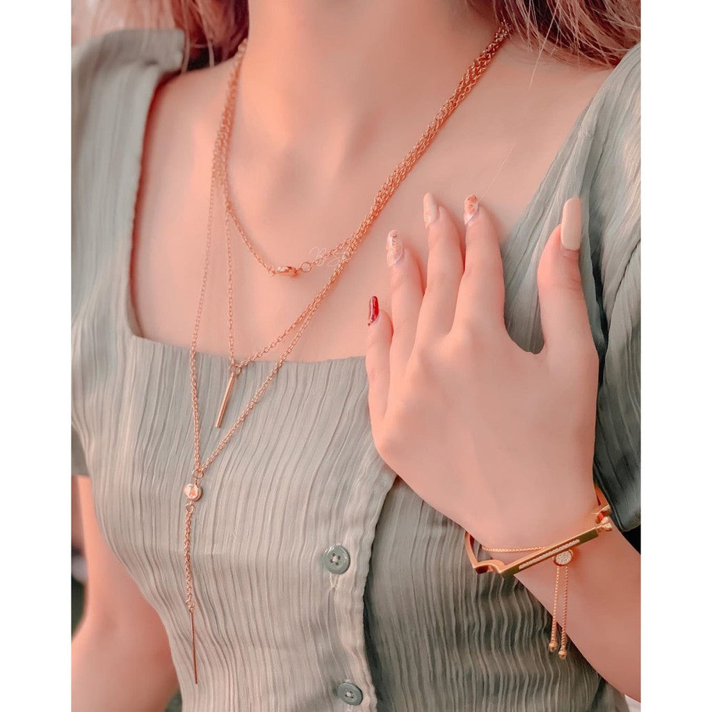 Kalung Wanita Panjang Choker Layer Korean Simple Casual Style