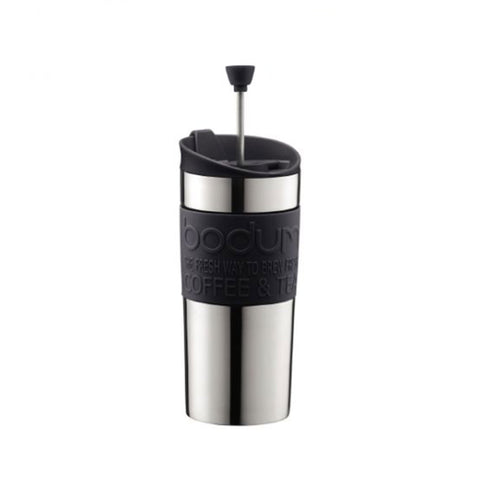 TRAVEL PRESS - Mug à piston isotherme en inox double paroi, couvercle à clapet, 0.35l