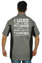 Load image into Gallery viewer, Men's Mechanic Work Shirt Moonshine was Bad 4 Me I Gave Up Thinking