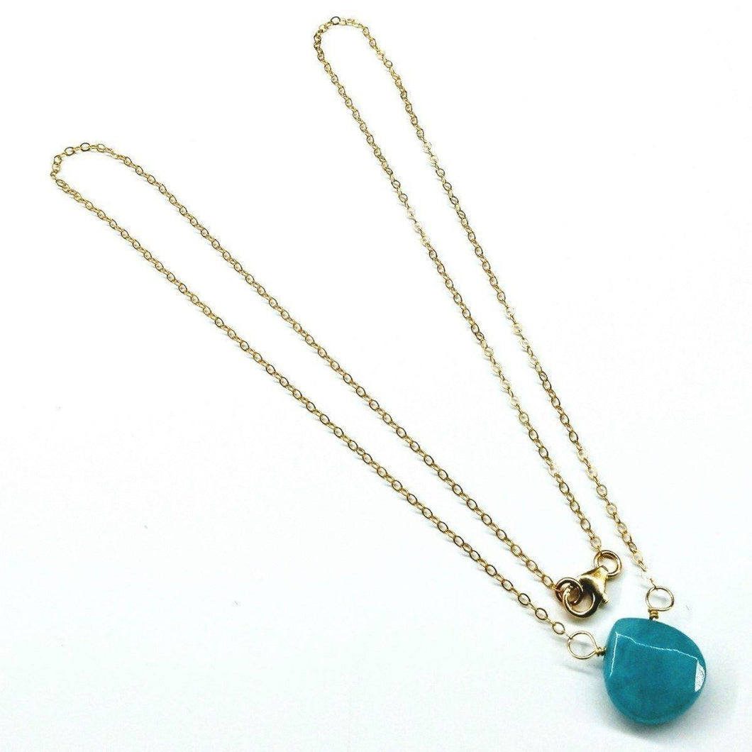 14kt Gold Filled Aqua Jade Wire Wrap Delicate Gemstone Drop Necklace