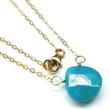 Load image into Gallery viewer, 14kt Gold Filled Aqua Jade Wire Wrap Delicate Gemstone Drop Necklace