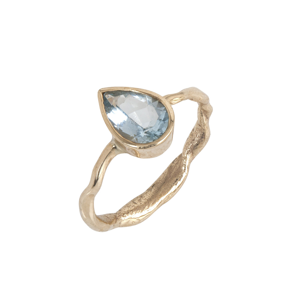 Aquamarine Secret Garden Gold Ring