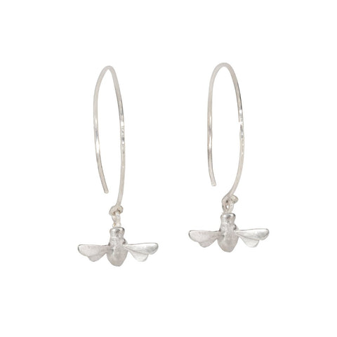 Dangling Bee Mine Hoop Earrings