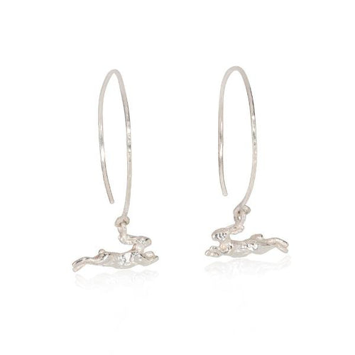 Dangling Hare Hoop Earrings