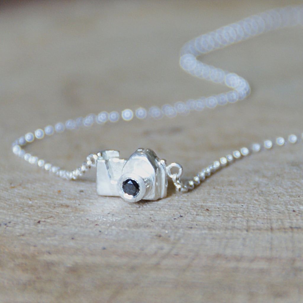 Silver Camera Necklace with Black Diamond