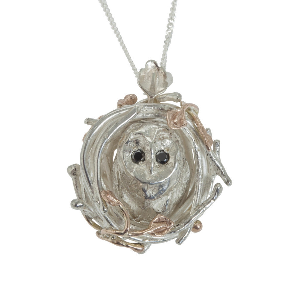 Silver and Gold Nesting Barn Owl Necklace with Black Diamonds