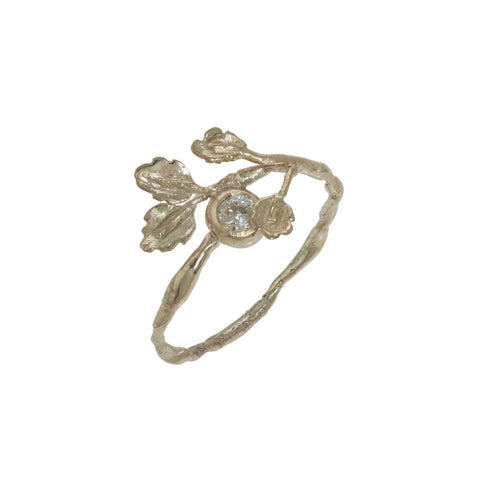 Gold Oak Leaf Diamond Ring