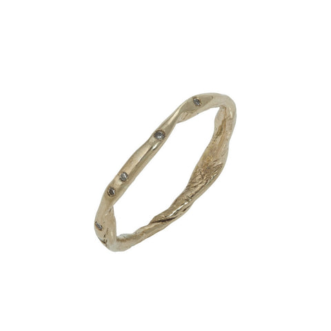 Fine Gold Diamond Organic Twist Ring