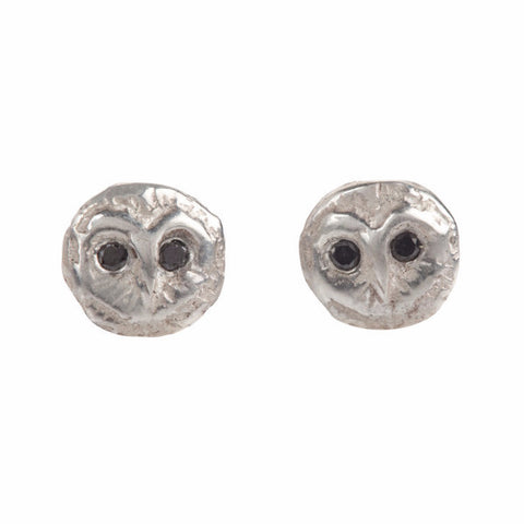 Barn Owl Studs with Black Diamonds