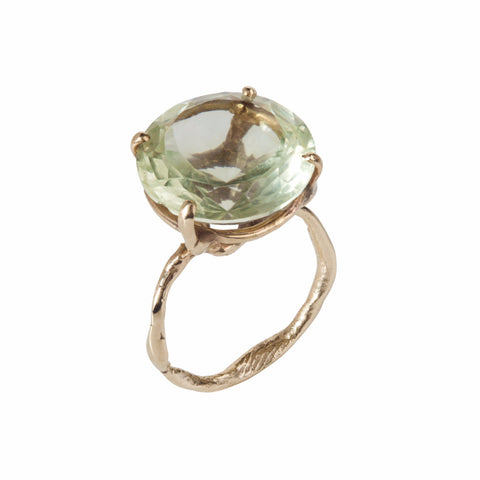 Green Amethyst Secret Garden Gold Ring