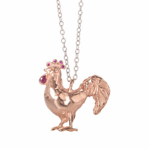 Rose Gold Cockerel Necklace