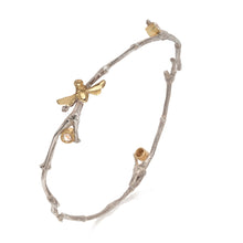 Rose Cut Diamond Gold Bee Mine Twig Bangle