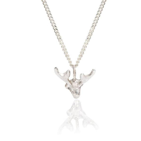 Tiny Silver Stag Necklace