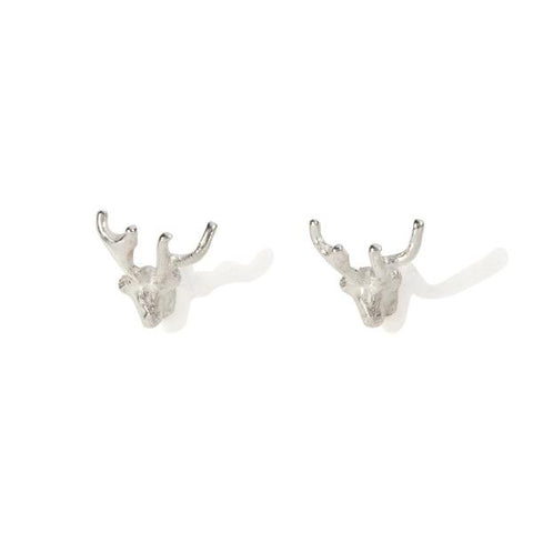 Tiny Silver Stag Studs