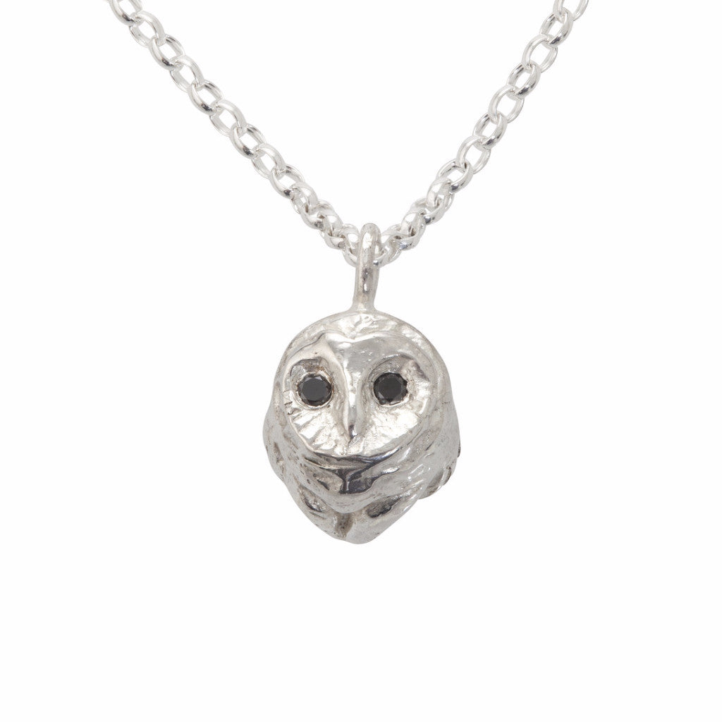 Barn Owl Necklace with Black Diamonds