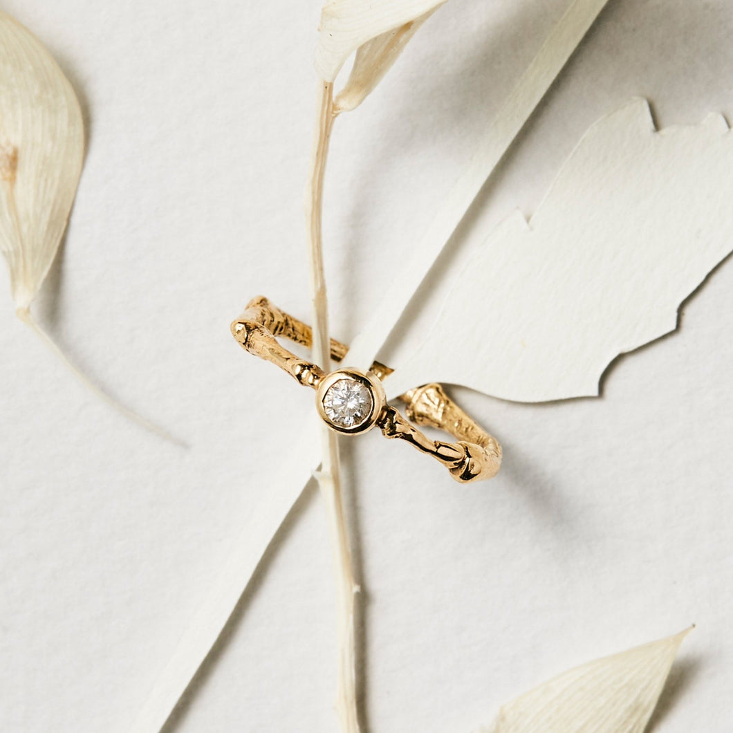 Rose Cut Diamond Gold Twig Ring