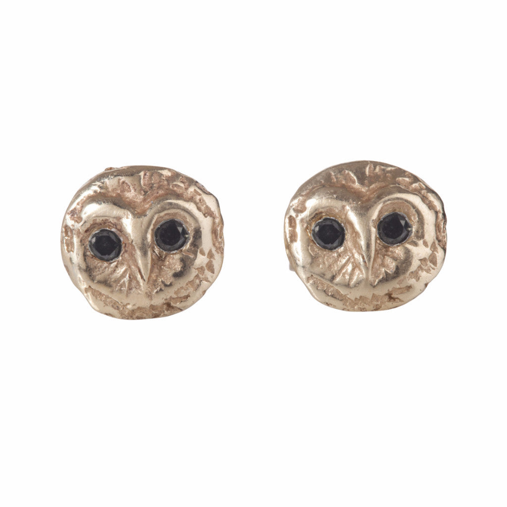 Gold Barn Owl Studs with Diamonds