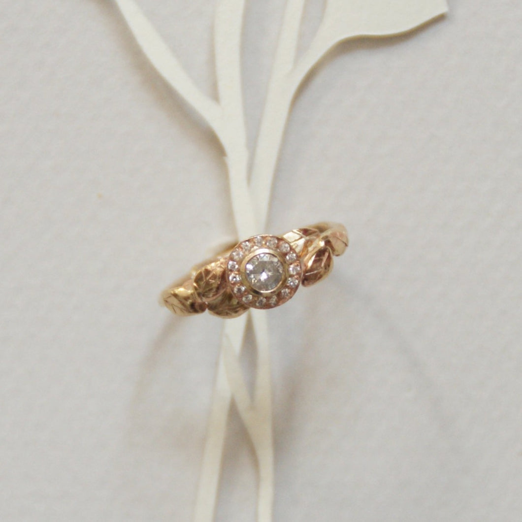 Gold Diamond Halo Twig Ring