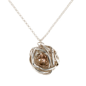 Silver and Rose Gold Nesting Field Mouse Necklace