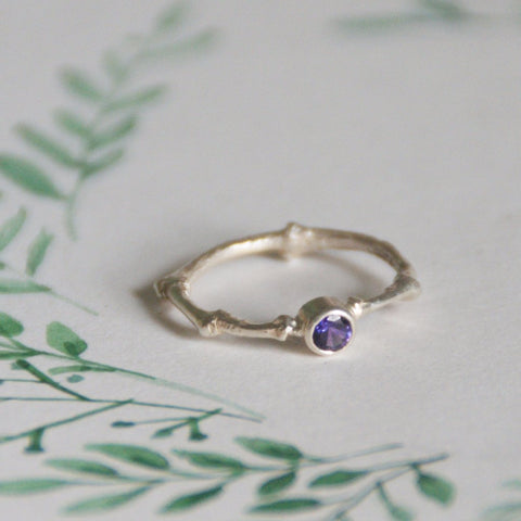 Rainbow Sapphire Silver Twig Ring