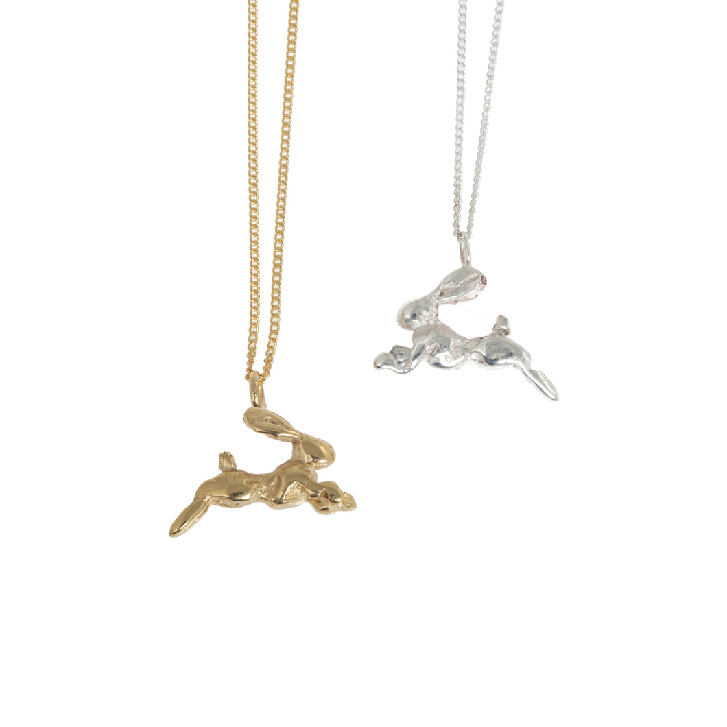 Tiny Silver and Gold Hare Necklace