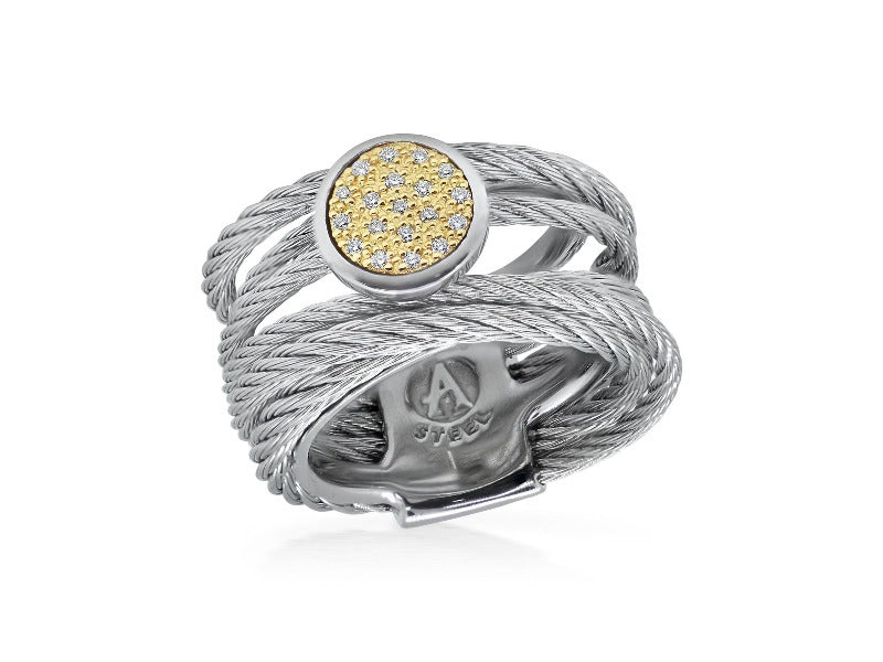 18kt Grey Cable Round Diamond Ring