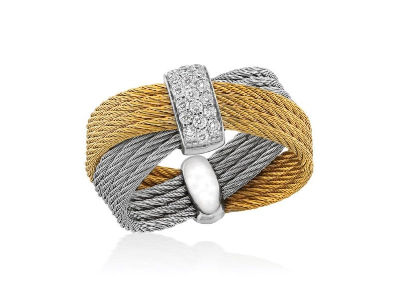 18kt Yellow and Grey Cable Bow Diamond Ring