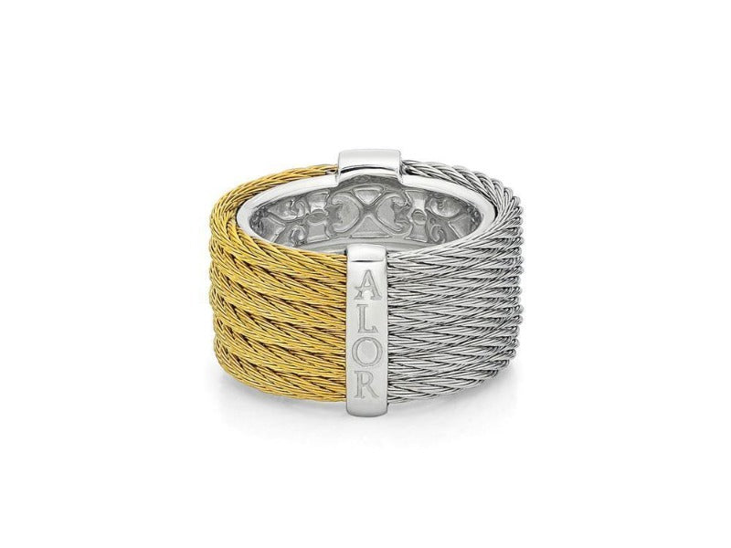 18kt Steel Yellow and Grey Cable Diamond Ring
