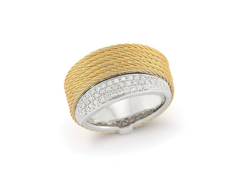 18kt Steel Yellow Cable Diamond Ring