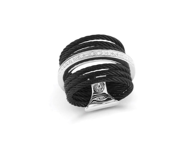 18kt Steel Black and Grey 7 Row Cable Diamond Ring