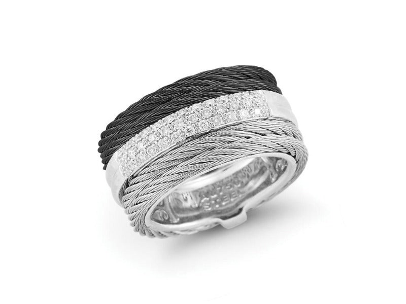 18kt Steel Black and Grey Diamond Ring