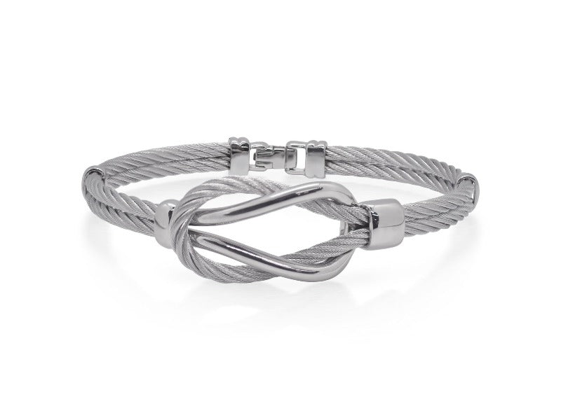 Stainless Steel Grey Cable Knot Bangle