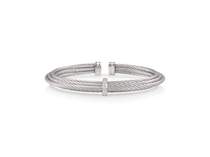 14kt Stainless Steel Tiered Diamond Station Bracelet