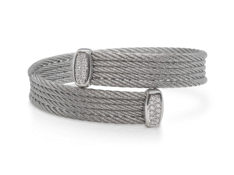 18kt Stainless Steel Bypass Diamond Bracelet
