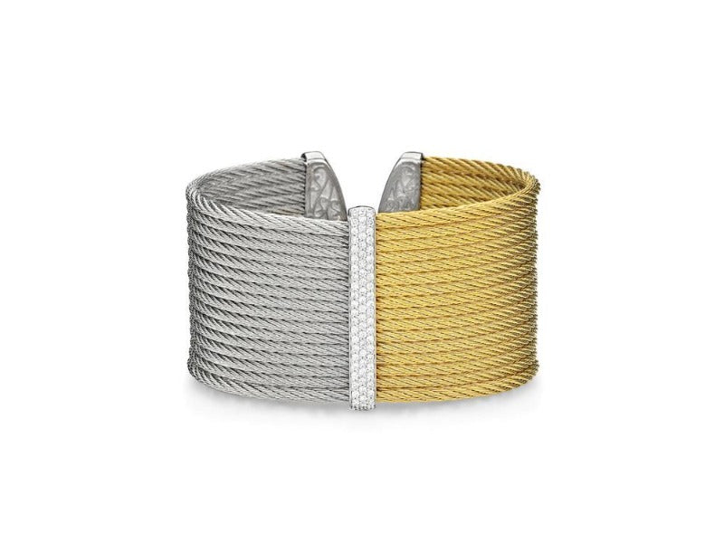14kt Stainless Steel Yellow and Grey Colourblock Wide Diamond Cuff