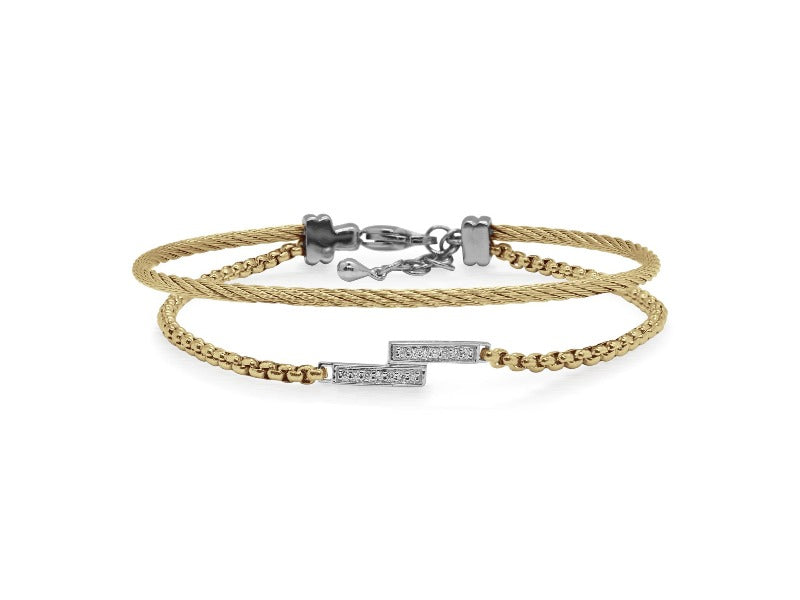 14kt Stainless Steel Cable Chain Diamond Intermix Bracelet