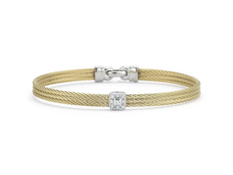 18kt Stainless Steel Stacker Diamond Square Bracelet