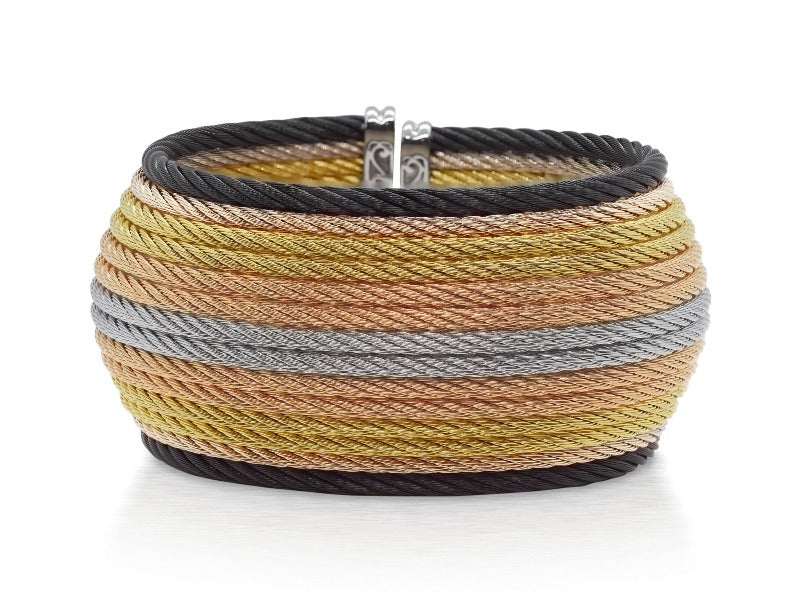 18kt Stainless Steel Multi-Coloured 14 Row Cable Bangle